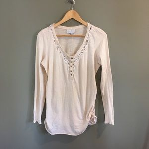 Jessica Simpson Maternity Nude Long Sleeve Shirt S